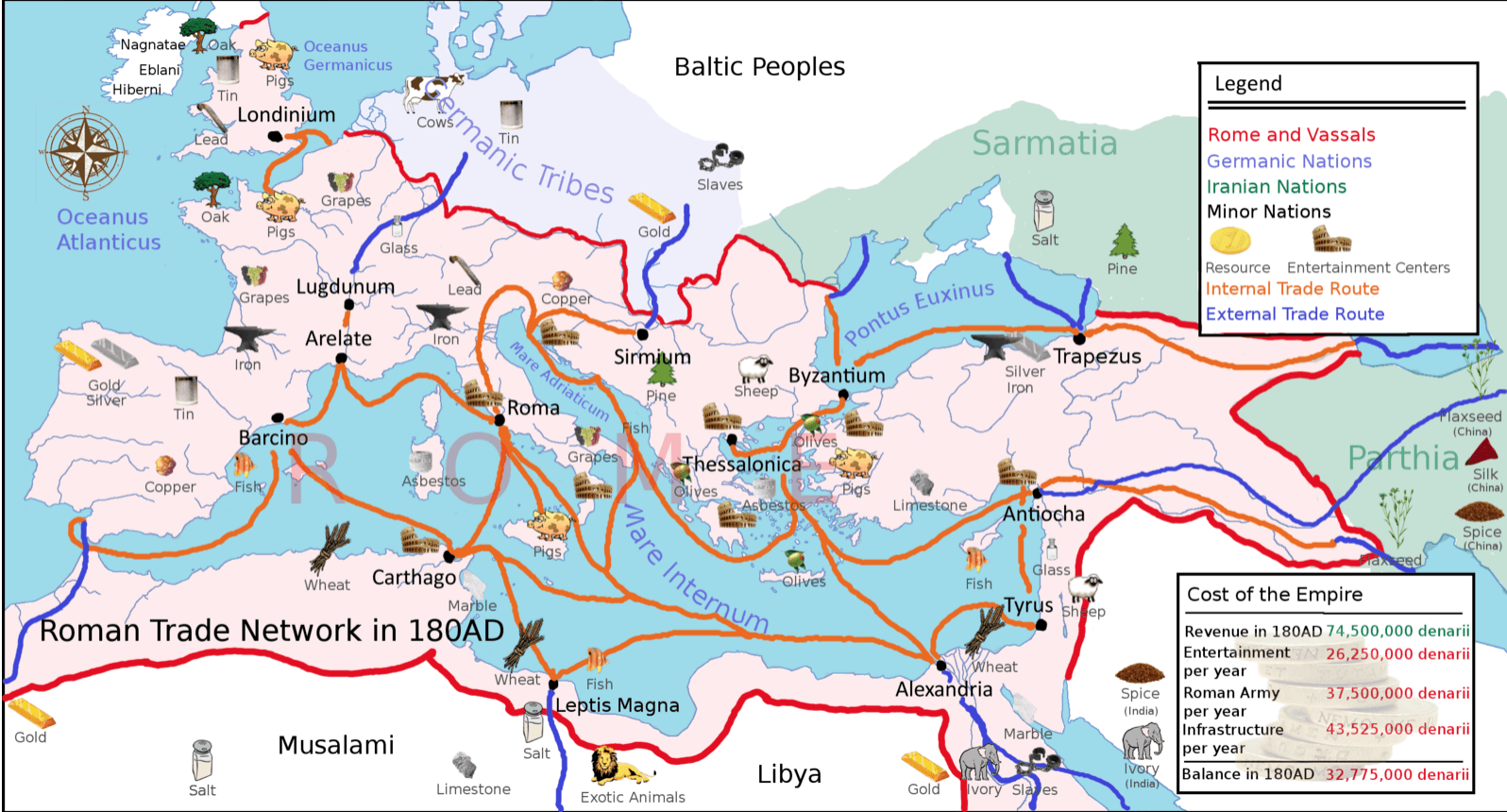 Map Showing The Trade Routes Used By The Ancient Romans
