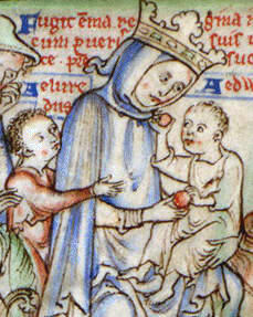 Emma of Normandy with her two young sons, Edward the Confessor and Alfred Aetheling