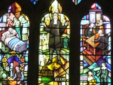 Stained Glass Window At Eyam Church Depicting The Great Plague of 1665
